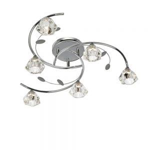 Deckenleuchte 6-flammig mit Kristallglas in Chrom 6x 33 Watt, chrom, Chrom