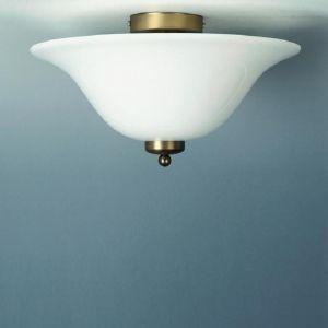 Deckenleuchte in Altmessing mit weißem Opalglas 35 cm