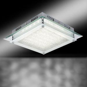 Deckenleuchte chrom, Glas satiniert mit Kristallen, 28x28cm