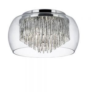 Deckenleuchte Curva aus Chrom mit Glaslampenschirm