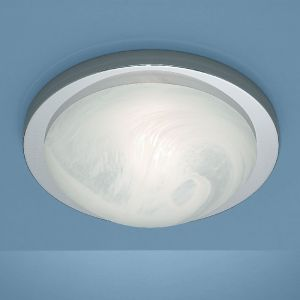 Deckenleuchte Durchmesser 35cm in Chrom mit Bajonett-Schnellverschluss und Alabasterglas