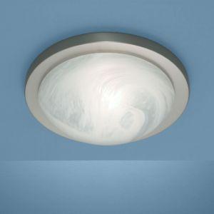 Deckenleuchte Durchmesser 35cm in Nickel-matt mit Bajonett-Schnellverschluss und Alabasterglas