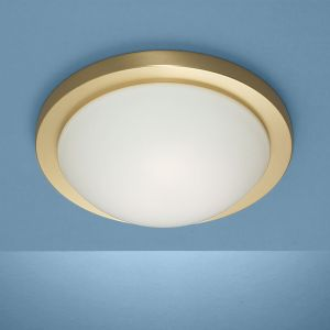 Deckenleuchte Durchmesser 41cm in Messing-matt mit mattem Opalglas und Bajonett-Schnellverschlus