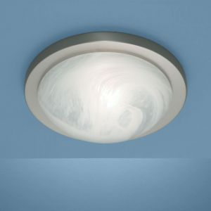 Deckenleuchte Durchmesser 41cm in Nickel-matt mit Bajonett-Schnellverschluss und Alabasterglas