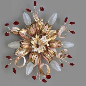Deckenleuchte florentiner Stil, 6-flg. Bleikristalle Rot