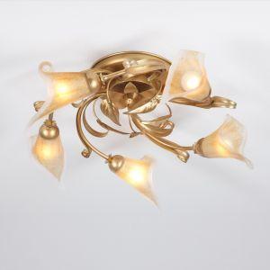 Deckenleuchte Florentiner-Stil, Gold / Antik, Glas amber