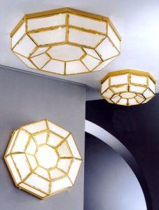 Deckenleuchte gold und weißem Opalglas- 3 Größen