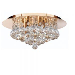 Deckenleuchte goldfarbig mit Kristallbehang - 35 cm 4x 33 Watt, 18,00 cm, 35,00 cm