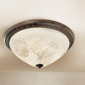 Deckenleuchte im Landhaus Stil - Made in Italy - Dunkelbraun - Scavo-Glas antik - Durchmesser 48 cm 3x 60 Watt, 48,00 cm
