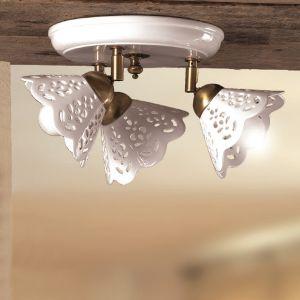 LHG Deckenleuchte im Landhausstil - Keramik-Lampenschirm - Messingfarbig - 3-flammig