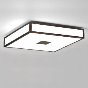 Deckenleuchte Mashiko, 40x40cm, Badleuchte, E27, LED geeignet, Bronze , weiß/bronze, Bronze/pulverbeschichtet