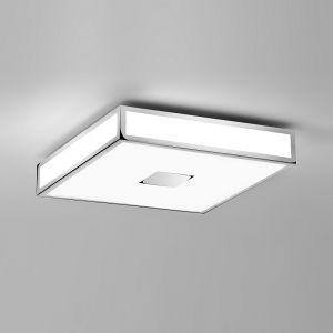 Deckenleuchte Mashiko, 40x40cm, Badleuchte, E27, LED geeignet, Chrom 4x 40 Watt, silber/weiß, Chrom