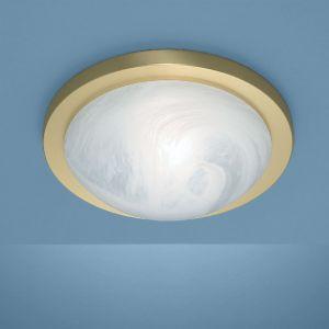 Deckenleuchte in Messing-matt in 30cm Durchmesser mit Alabasterglas und Bajonett-Schnellverschluss