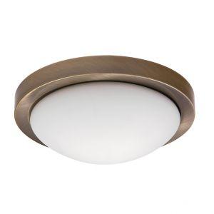 Deckenleuchte Metall in Bronze und Opalglas, Durchmesser 33cm 2x 40 Watt, 33,00 cm