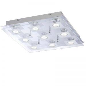 LHG Deckenleuchte mit teilsatinierter Glasabdeckung - Inklusive LED-Leuchtmittel 9x3Watt + LED Taschenlampe