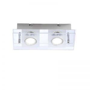 Deckenleuchte mit teilsatinierter Glasabdeckung - Inklusive LED-Leuchtmittel 2x3Watt + LED Taschenlampe