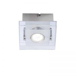 LHG Deckenleuchte mit teilsatinierter Glasabdeckung - Inklusive LED-Leuchtmittel 1x3Watt + LED Taschenlampe