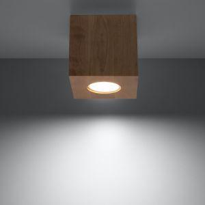 Deckenleuchte Quad Holz mit LED-Leuchtmittel