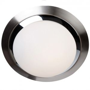 Deckenleuchte rund - Stahl gebürstet / Chrom, 22 cm 1x 60 Watt, 22,00 cm