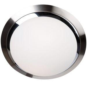 Deckenleuchte rund - Stahl gebürstet / Chrom, 31 cm 2x 60 Watt, 31,00 cm