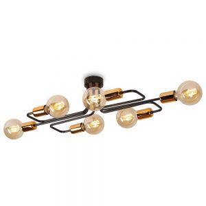 LHG Deckenleuchte Vekken6A  Black inklusive 6x bernsteinfarbige Globe LED