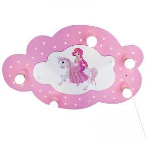 Deckenleuchte in Wolkenform mit Prinzessin und Pferd in rosa