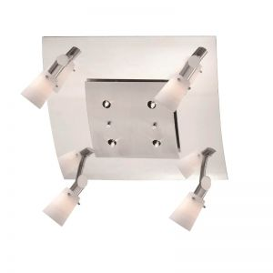 Deckenleuchte, 4-flammig, Innenlicht, Nickel matt / Chrom, schwenkbar