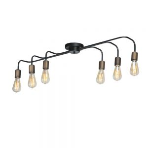 Deckenleuchte, 6-flammig, Retro-Design, Industrial-Charme, inkl. LED