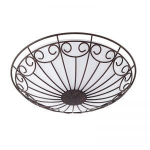Deckenleuchte, antik-braun / Glas satiniert, Ø 35cm 2x 60 Watt, 9,50 cm, 35,00 cm