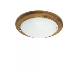 Deckenleuchte, Eichenholz, Opalglas, rund, D=30cm 1x 60 Watt, 30,00 cm