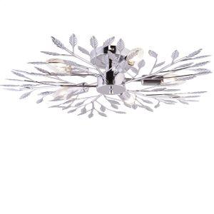 Deckenleuchte, florale Elemente in glänzendem Chrom, Durchmesser 62cm
