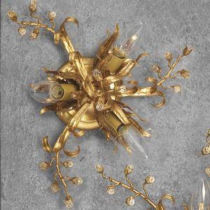 Deckenleuchte, florentiner, Eisen, Blattgold, Kristallrispen, D 34 cm 3x 40 Watt, 10,00 cm, 34,00 cm