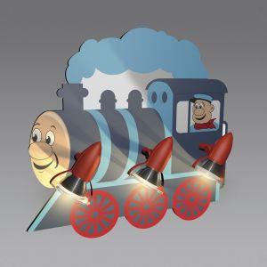 Deckenleuchte, Kinderzimmer, 3 Spots, schwenkbar, bunt, Lokomotive
