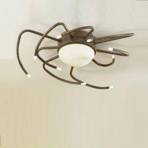 Deckenleuchte, Landhaus-Stil, rost, Glas weiß, 10-flammig, D=48cm