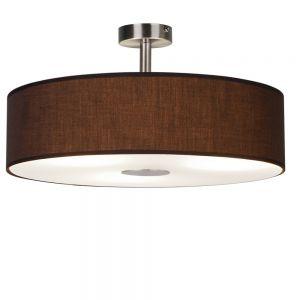 Deckenleuchte, Stofflampenschirm, Glasplatte, D=40cm, Braun braun