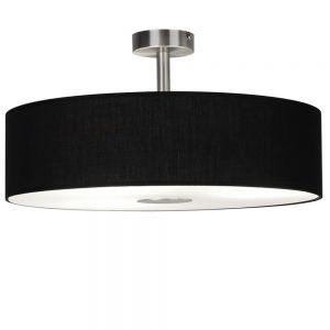Deckenleuchte, Stofflampenschirm, Glasplatte, D=40cm, Schwarz schwarz