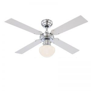 Deckenventilator beleuchtet in Nickel-matt mit Flügeln in Weiß und Silber