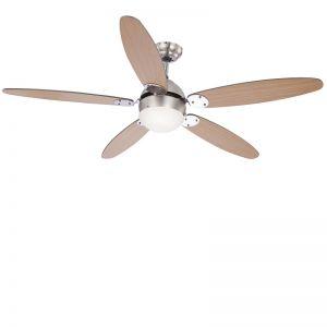Deckenventilator beleuchtet, Nickel-matt, Flügel zweifarbig