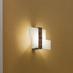 Dekorative Wand-/Deckenleuchte mit Glas Weiß - Armatur wengèfarben - 35x22,4cm