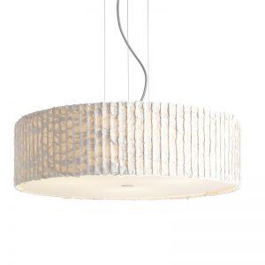 Design-Pendelleuchte mit Schirm aus Trevira-Stoff in ivory (elfenbein) - Textilkabel Silbergrau - Ø54cm elfenbein/silbergrau
