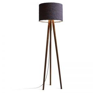 Domus Dreibein Design-Stehleuchte aus Echtholz