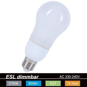 LHG Dimmbare Energiesparlampe ESL  A60 E27 15W Leuchtmittel 1x 15 Watt, 15 Watt, 800,0 Lumen, Einzelartikel, 140,00 mm