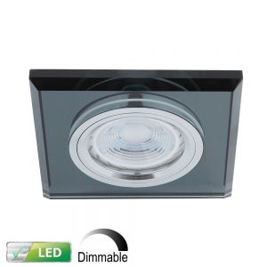 Dimmbarer Einbaustrahler mit Glas eckig Schwarz, LED 1x 5W GU10