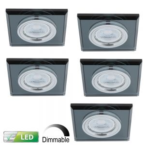 LHG Dimmbarer LED-Einbaustrahler, Glasrahmen schwarz eckig, 5er-Set GU10 5W