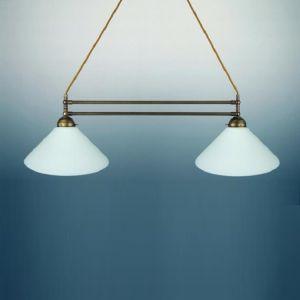Doppelpendelleuchte, Breite 68 cm, altmessing - ohne Gläser