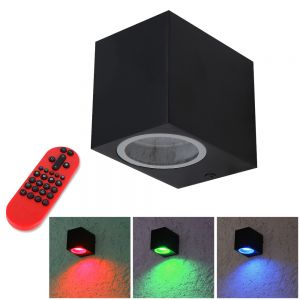 LHG Downlight LED-Außenwandstrahler schwarz+ GU10 LED und Fernbedienung
