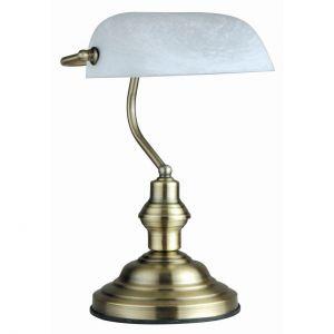 E27 Tischleuchte aus GlasTischlampe AlabasterOptik und weiß mit Schalter weiß, Altmessing, 25,00 cm, 19,00 cm