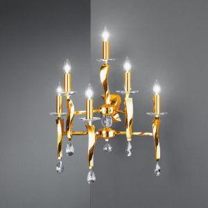 Echter Kristallbehang Wandleuchter Girata aus Messing-Guss  6 flammig in gold
