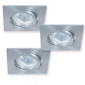 LHG Eckiger LED Decken-Einbaustrahler - Aluminium - 3er-Set je 5 Watt