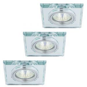 LHG Einbaustrahler mit Glasrahmen - 3er-Set - Eckig - Silber - 3 x GU10 35W